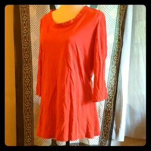 Eddie Bauer sz L orange wide neck t-shirt 3/4 slv